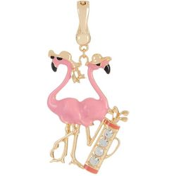 Wearable Art By Roman Golfing Pink Flamingo Pendant