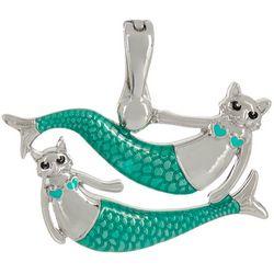Wearable Art By Roman Double Cat & Mermaid Pendant