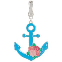 Wearable Art Blue Floral Anchor Pendant