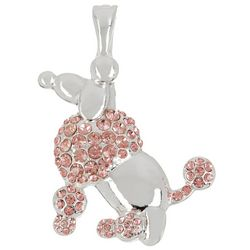 Wearable Art Pink Silver Tone Poodle Pendant