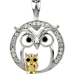 Wearable Art Mom & Baby Owl Two Tone Pendant