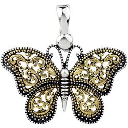 Wearable Art Two Tone Filigree Butterfly Pendant