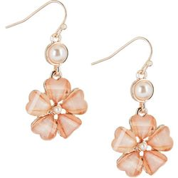 Roman Flower & Faux Pearl Drop Earrings