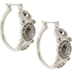Roman Hematite Tone Stone Hoop Earrings