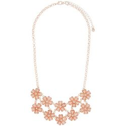 Roman Flower Bib Rose Gold Tone Necklace
