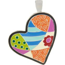 Wearable Art By Roman Patchwork Heart Pendant