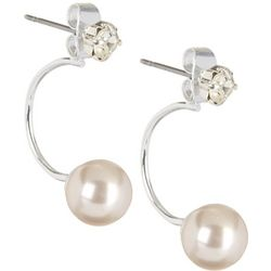 Roman Duet Crystal Stud Faux Pearl Hoop Earrings
