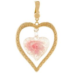 Wearable Art By Roman Gold Tone & Pink Glass Heart Pendant