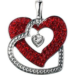 Wearable Art By Roman Red Rhinestone Heart Pendant