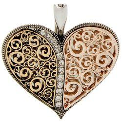 Wearable Art By Roman Tri-Tone Puffy Filigree Heart Pendant
