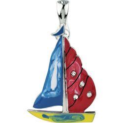 Wearable Art By Roman Enamel Nautical Sailboat Pendant