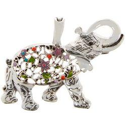 Wearable Art By Roman Floral Elephant Pendant