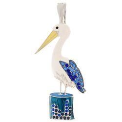 Wearable Art By Roman Rhinestone Enamel Seagull Pendant