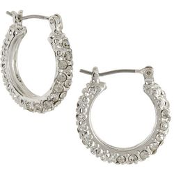 Roman Clear Rhinestones Hoop Earrings