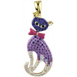 Wearable Art By Roman Purple Rhinestone Cat Pendant
