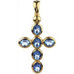 Wearable Art By Roman Blue & Gold Tone Cross Pendant