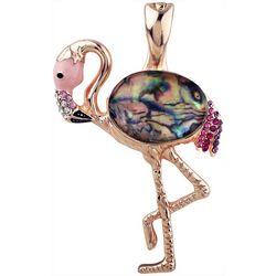Wearable Art By Roman Pink Abalone Flamingo Pendant