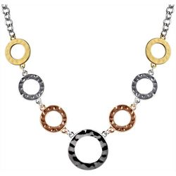Wearable Art By Roman Tri Tone Multi Ring Front Necklace