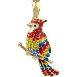 Wearable Art By Roman Rhinestone Parrot Pendant