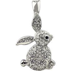 Wearable Art By Roman Pave Rhinestone Rabbit Pendant
