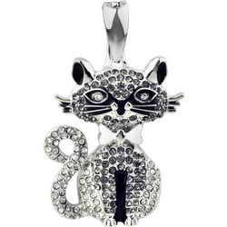 Wearable Art By Roman Black & Clear Rhinestone Cat Pendant