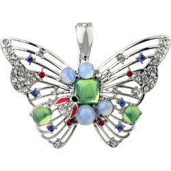 Wearable Art By Roman Jeweled Rhinestone Butterfly Pendant