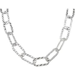 Wearable Art By Roman Silver Tone Hammered Chain Necklace