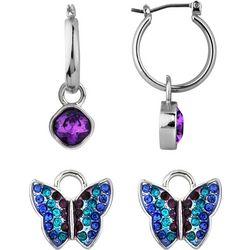 Wearable Art By Roman Purple Charm & Hoop Earring Set