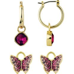 Wearable Art By Roman Butterfly Charm & Hoop Earring Set