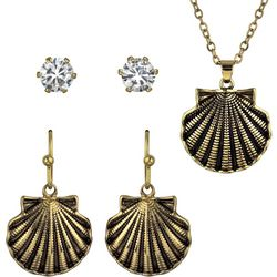 Roman 3-pc. Gold Tone Shell Necklace & Earring Set