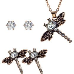Roman 3-pc. Rose Gold Tone Dragonfly Necklace & Earring Set