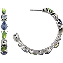 Roman Multi-Faceted Stones Post Top Hoop Earrings