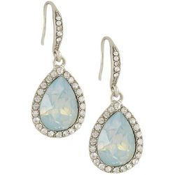 Roman Milky Multi-Facted Stone Teardrop Earrings