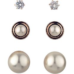 Roman 3-pc. Rose Gold Tone Faux Pearl Earring Set