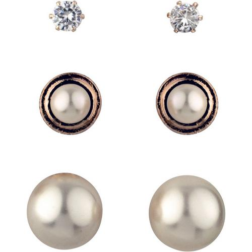 af25beeb4d01b Roman 3-pc. Rose Gold Tone Faux Pearl Earring Set