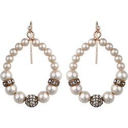 Roman Rhinestone & Faux Pearl Hoop Drop Earrings