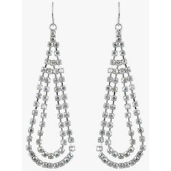 Roman Silver Tone 2 Crystal Teardrop Earrings