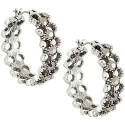 Roman Silver Tone Cutout Marcasite Hoop Earrings