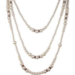 Roman 3 Row Faux Pearl & Rose Gold Tone Layered Necklace