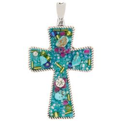 Wearable Art By Roman Multi Media Cross Pendant
