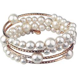 Roman Rose Gold Tone & Faux Pearl Coil Bracelet