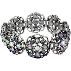 Roman Faux Opal Marcasite Disc Stretch Bracelet