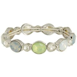 Roman Milky Multi Faceted Stones Link Stretch Bracelet