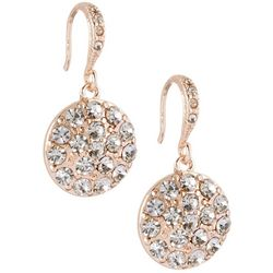 Roman Pave Rhinestone Disc Drop Earrings