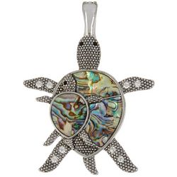 Wearable Art Abalone Mom & Baby Turtle Pendant
