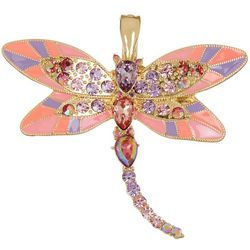 Wearable Art Pink Multi Mosaic Dragonfly Pendant