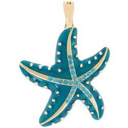 Wearable Art Teal Enamel Starfish Pendant