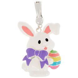 Wearable Art Enamel Easter Bunny & Egg Pendant