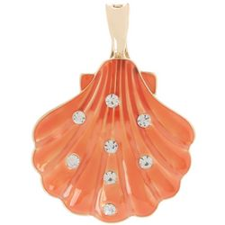 Wearable Art Coral Enamel Shell Pendant