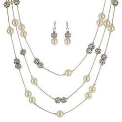 Roman Cream Pearlescent Illusion Necklace Set
